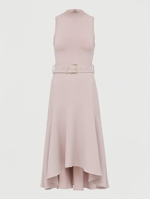 Ted Baker Midi Dress With Dip Hem Fluted Skirt - Pink