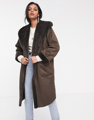 Religion longline hooded shearling coat