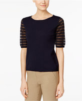 Calvin Klein Striped-Sleeve Sweater