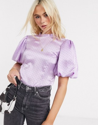 Influence puff sleeve satin blouse in polka dot