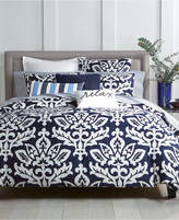Charter Club Damask Designs Supima Cotton Navy 3-Pc. Full/Queen Duvet Set, Created for Macy's