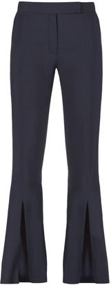 Muza High-Rise Slit Trousers In Dark Blue