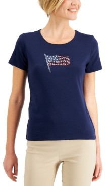 Karen Scott Petite Cotton Embellished Flag-Graphic Top, Created for Macy's