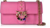 Pinko Love Pink Jeweled Leather Shoulder Bag