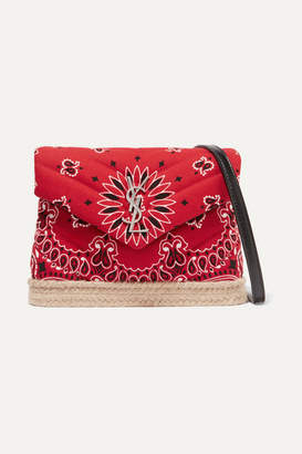 Saint Laurent Loulou Toy Leather And Jute-trimmed Quilted Printed Cotton Shoulder Bag - Red
