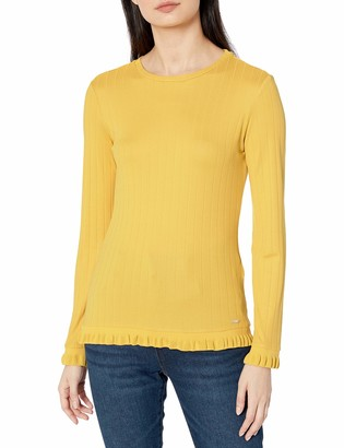 A|X Armani Exchange Women's Form Fitting Scoop Neck Sweater with Small Ruffle Detailing
