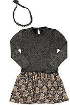 Imoga Knit & Twill Combo Dress-NAVY