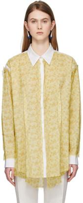 Acne Studios White and Yellow Chiffon Overlay Shirt