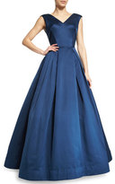 Zac Posen Sleeveless V-Neck Ball Gown, Navy
