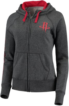 G Iii Women's G-III 4Her by Carl Banks Charcoal/Red Houston Rockets Playoff Suede Fleece Full-Zip Jacket