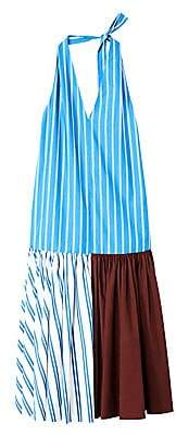 Tibi Women's Vivian Striped Halterneck Midi Dress