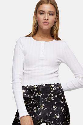 Topshop Womens White Long Sleeve Button Through Top - White