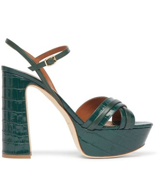 Malone Souliers Mila Platform Crocodile-effect Leather Sandals - Womens - Dark Green