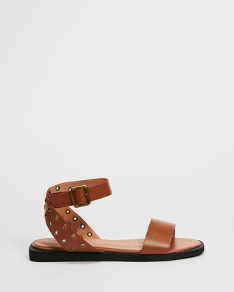 Betsy - Women's Brown Flat Sandals - Studded Ankle Strap Sandals - Size 36 at The Iconic