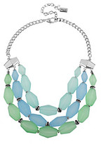Kenneth Cole Silvertone & Blue/Green Faceted Bead Three Row Necklace