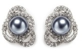 Kenneth Jay Lane Faux pearl glass crystal interlocking clip earrings