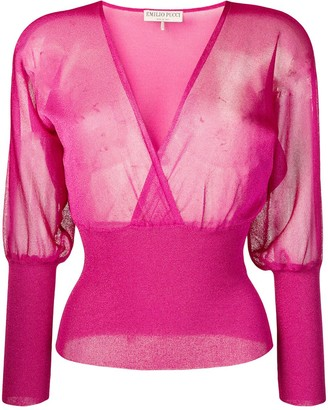 Emilio Pucci Metallic Semi-sheer Wrap Front Top