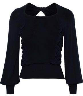 ADEAM Open-back Ruffle-trimmed Knitted Sweater