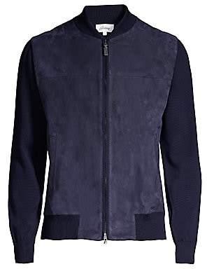 Brioni Men's Wool & Suede Bomber Jacket