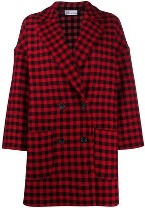 RED Valentino Gingham-Check Double-Breasted Coat