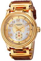 Akribos XXIV Men&s Quartz Diamond Leather Strap Watch - 0.06 ctw