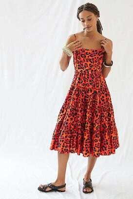 Leopard Tiered Midi Dress By Geisha Designs in Assorted Size XL