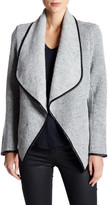 Cupcakes And Cashmere Sidney Draped Faux Leather Trim Jacket