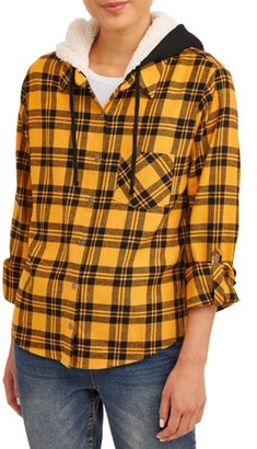No Boundaries Juniors' Flannel Sherpa Hoodie