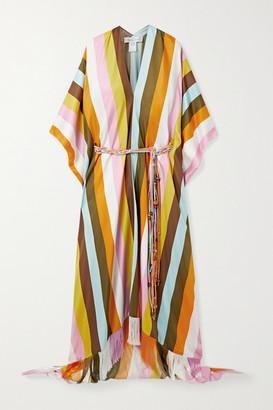 Oscar de la Renta Belted Fringed Striped Silk-satin Kaftan - Yellow