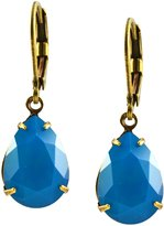 Liz Palacios Antique Gold Plated Swarovski Crystal Teardrop Dangle Earrings