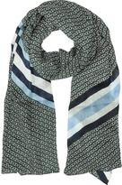 Tory Burch Gemini Link Striped Oblong Wool Scarf