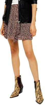 Topshop Leopard Ruffle Miniskirt