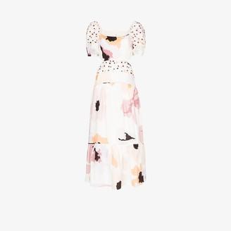 Peony Swimwear Soiree Cutout Linen Midi Dress