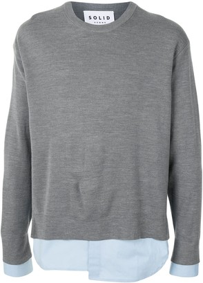 Solid Homme Layered Hem Crewneck Jumper