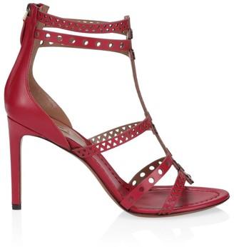 Alaia Vienne Laser Cut Leather T-Strap Sandals