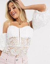 Love Triangle off shoulder lace body suit with baloon sleeve
