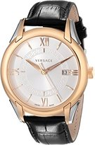 "Versace Men's VFI020013 ""Apollo"" Rose Gold Ion-Plated Stainless Steel Casual Watch with Leather Band"