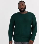 Jack & Jones Originals textured crew neck knitted jumper in green