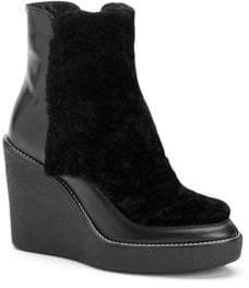 Aquatalia Violett Shearling& Leather Wedge Booties