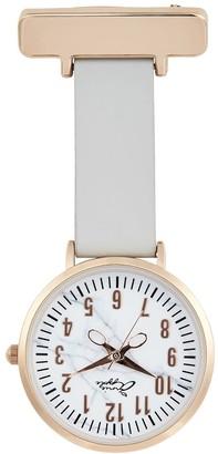 Bermuda Watch Company Annie Apple Marble Rose Gold Grey Leather Nurse Fob Watch