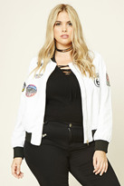 Forever 21 FOREVER 21+ Plus Size Patched Bomber Jacket