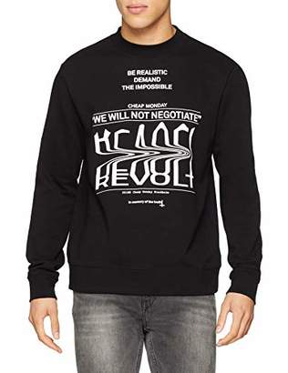 Cheap Monday Men's Worth Sweat Revolt Sender Sweatshirt, Black, Large (Size: L)