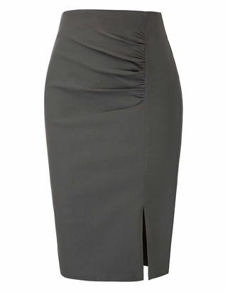 Belle Poque Elegant Ladies Work Wear Office Knee Length Solid Skirts White#815 X-Large