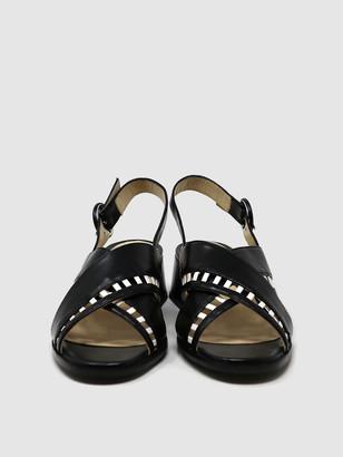 Sylven SIMONE Black/White Leather Cross-Band Sandal