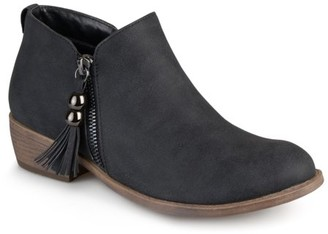 Brinley Co. Women's Zipper Faux Leather Ankle Boots