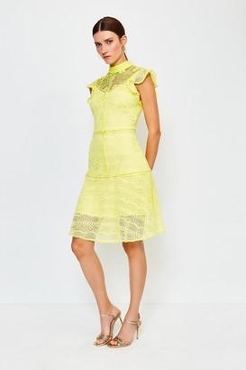 Karen Millen Chemical Lace Ruffle Sleeveless Short Dress