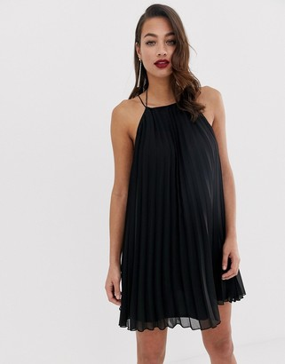 Asos Design DESIGN pleated mini trapeze dress with lace up back detail-Black