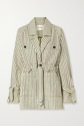 Mara Hoffman Net Sustain Arlo Belted Striped Tencel Lyocell And Organic Cotton-blend Twill Jacket - Ecru