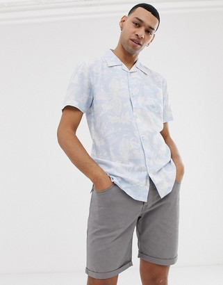 Bellfield shirt with leaf and fish print in powder blue