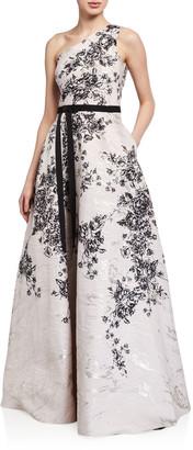 Marchesa One-Shoulder Printed Metallic Jacquard Gown